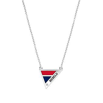 University Of Mississippi - Rebels Engraved Diamond Geometric Necklace In Red And Blue