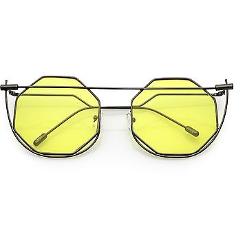 Abstract Geometric Metal Wire Frame Hexagon Color Lens Gafas de Sol
