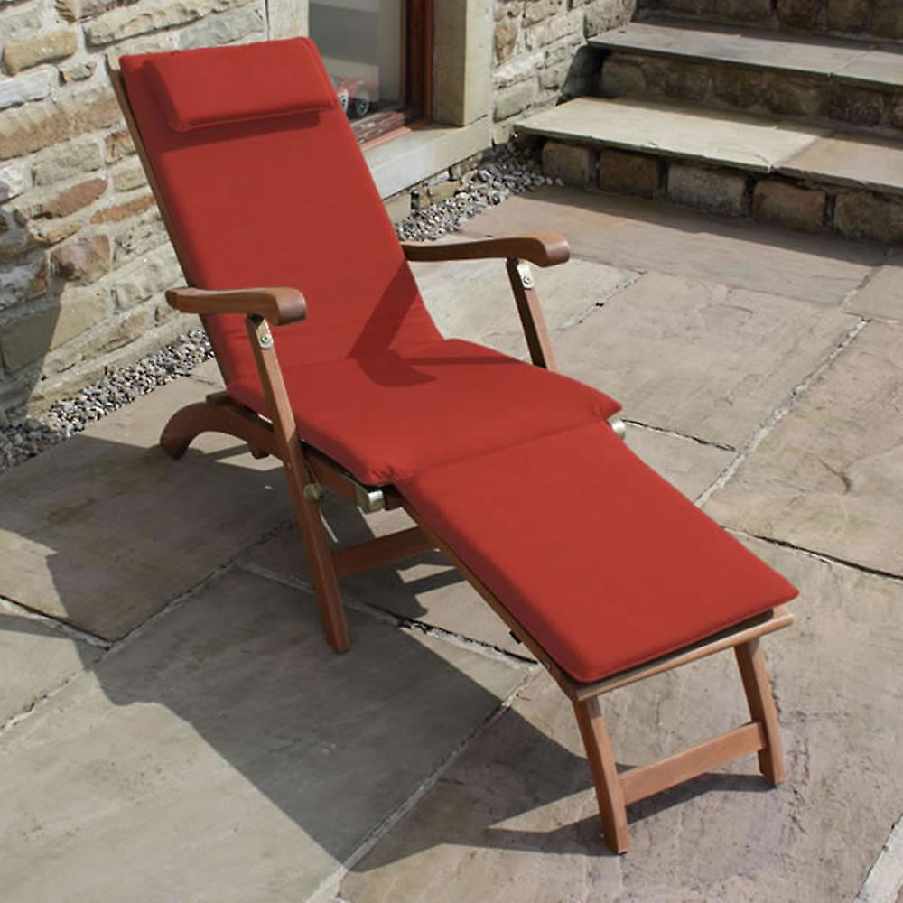 Trueshopping Steamer Sun Lounger with Ruby Red Cushion and Folding Side Table