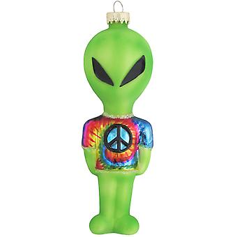 Christmas By Krebs Green Alien Tie Dye Peace Sign Shirt Glass Holiday Ornament