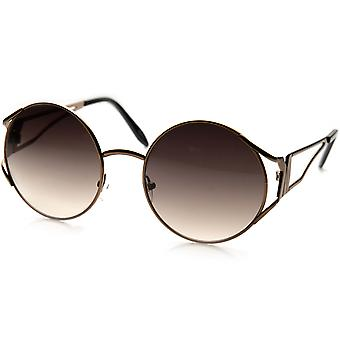 Womens Fashion Full Metal Cut-Out Temple Circle Round Sunglasses