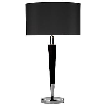 Viking Table Lamp Polished Chrome & Black Complete With Black Linen Shade Vik1322
