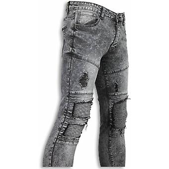 Exclusieve Biker Jeans - Slim Fit Biker Knees With Paint Drops Jeans - Grijs