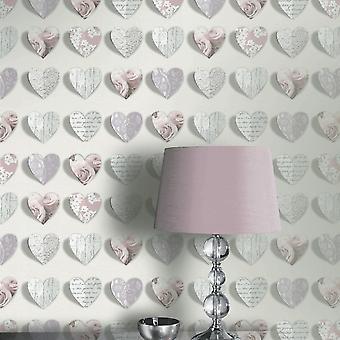 Arthouse Olivia Heart Pattern Rose Motif Fleur Wood Fonds peint floral 669701
