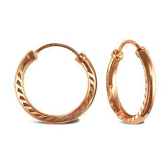 Jewelco London Ladies 9ct Rose Gold Diamond Cut Capped Sleeper 1.5mm Hoop Earrings 15mm