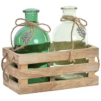 Wellindal September 3 glass vase tropical wood 16x8x14 (Decoration , Jars)