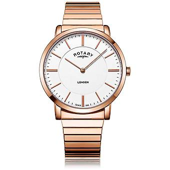 Rotary Mens London Rose Gold Steel Expanding Bracelet GB02767/02 Watch