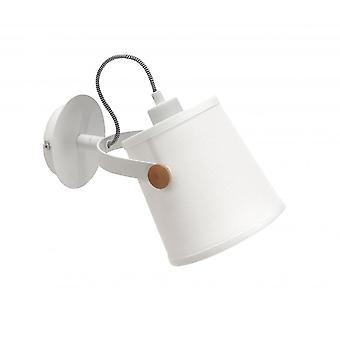 Mantra Nordica Wall Lamp With White Shade 1 Light E27, Matt White/Beech With Ivory White Shade