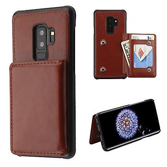 MYBAT Brown Flip Wallet Executive Protector Cover (PC Case with Snap Fasteners) for Galaxy S9 Plus