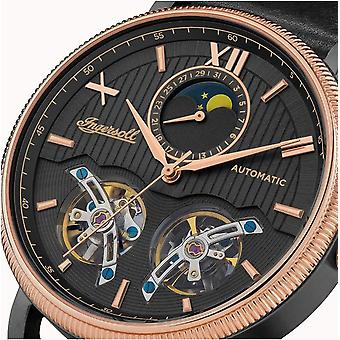 Ingersoll The Hollywood Automatic Black Dial Rose Gold PVD Case Mens Watch I09601
