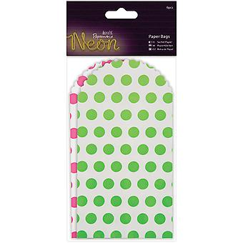 Papermania Neon/White Paper Bags 6/Pkg-Pink & Green PM174213