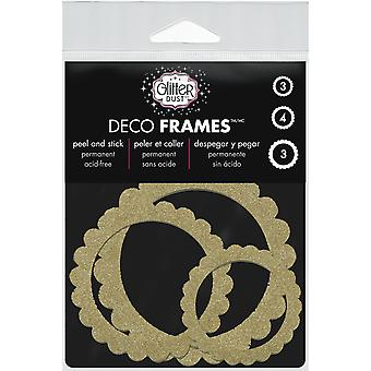 Glitter Dust Frame Assortment 10/Pkg-Scallop Circle Gold DFRM-1201