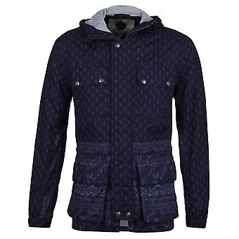 Pretty Green Printed Tarbet Chambray Indigo Blue Hooded Jacket