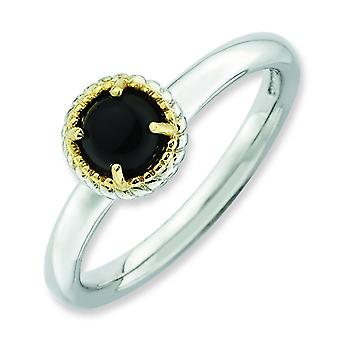 2.25mm Sterling Silver and 14k Stackable Expressions Onyx Polished Ring - Ring Size: 5 to 10