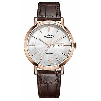 Rotary Mens Brown Leather Strap Rose Gold Plated GS05304/02 Watch