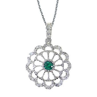 14k White Gold Emerald and .05 ct Diamond Wheel Pendant with 18