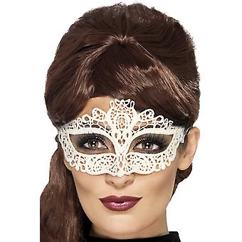 Smiffys Embroidered Lace Filigree White Eye Mask Womens Halloween Fancy Dress