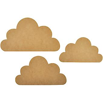 Au-delà de la Page MDF Cloud Wall Art-3/Pkg, 9.5