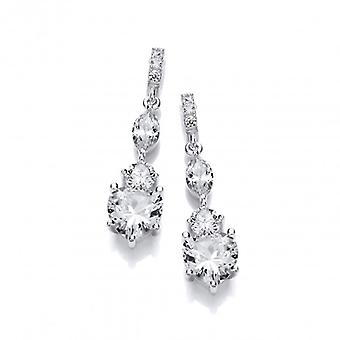 Cavendish French Ornate Silver and CZ Heart Drop Earrings