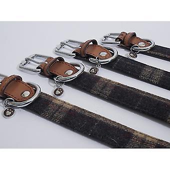 Luksus læder krave Tweed kontrollere 1