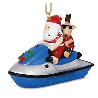 Jolly Santa On Jet Ski with Reindeer Christmas Holiday Ornament