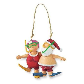 Santa og Mrs Claus snorkling Christmas Holiday Ornament