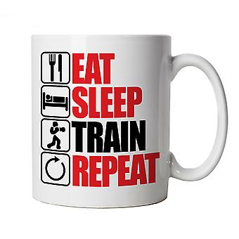 Vectorbomb, Eat Sleep Train Repeat, Novelty Mug