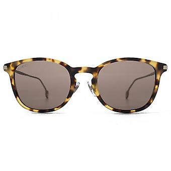 Gucci Small Keyhole Sunglasses In Spotted Havana Palladium