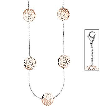 Collier Heart Necklace stainless steel rose gold color coated bicolor 90 cm