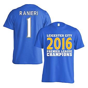 Leicester City 2016 Premier League Champions T-Shirt (Ranieri 1) Blue