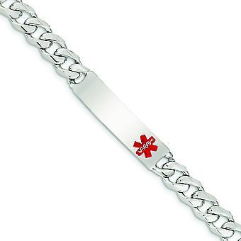 Sterling prata esmalte Engravable lagosta garra fechamento polido Curb médica Link pulseira de identificação - comprimento: 7,5 a 8,5