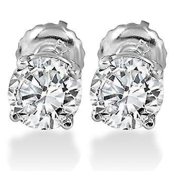 1.25 CT ダイヤモンド スタッド スクリュー バック 14 K ホワイトゴールド