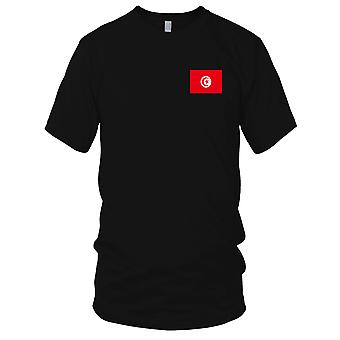 Nationalflagge Tunesien Land - Stickerei Logo - 100 % Baumwolle T-Shirt Herren T Shirt