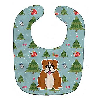 Carolines Treasures  BB4780BIB Christmas English Bulldog Red White Baby Bib
