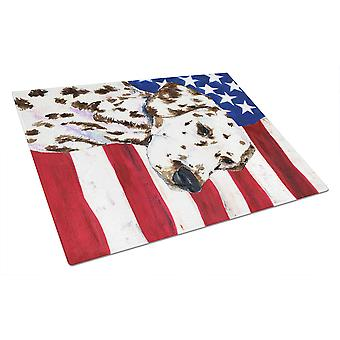 Carolines Treasures  SS4225LCB USA American Flag with Dalmatian Glass Cutting Bo