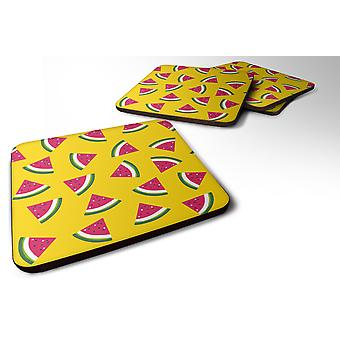 Set of 4 Watermelon on Yellow Foam Coasters Set of 4