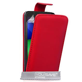 Yousave Accessories Motorola Moto E Leather-Effect Flip Case - Red
