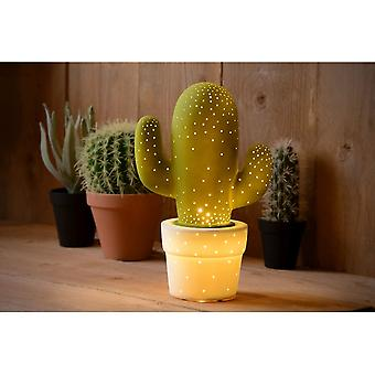 Lucide Cactus Lime Green Ceramic Bedside Novelty Table Lamp