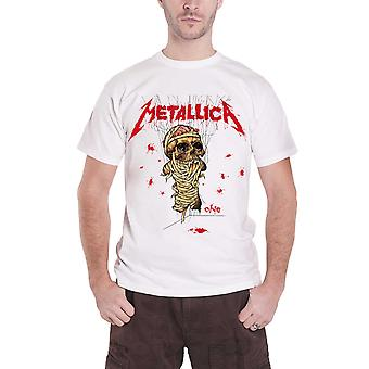 Metallica T Shirt One Landmine Copy me With Life band Logo Official Mens White