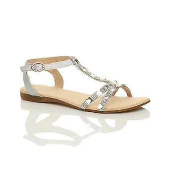Ajvani damskie płaskie niski obcas t-bar diamante klejnotów kostki pasek letnie sandały buty