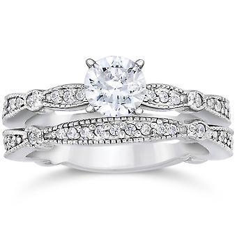 1ct Pave Milgrained diamant Engagement bague de mariage Set 14K or blanc