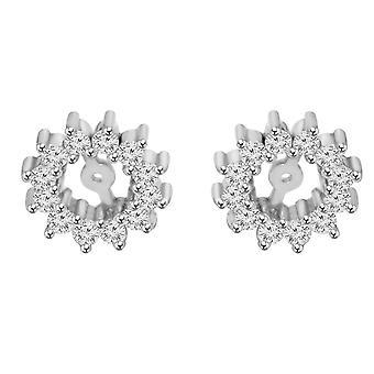 1 / 2ct diament kolczyki kurtki 14K białe złoto pasuje do 5-5,5 mm okrągłe Suds