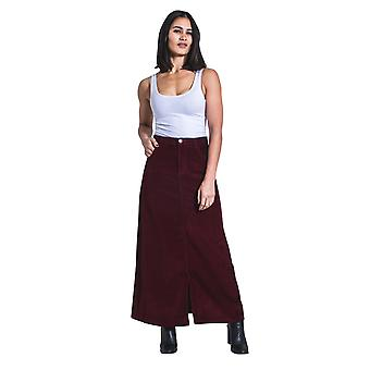 USKEES FEARNE Long Corduroy Skirt - Burgundy Maxi Skirt front split UK 8-22
