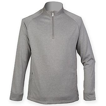 Henbury Mens Quarter Zip Wicking Midlayer Top