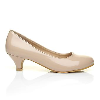 CHARM Nude Patent PU Leather Low Heel Round Toe Comfort Court Shoes