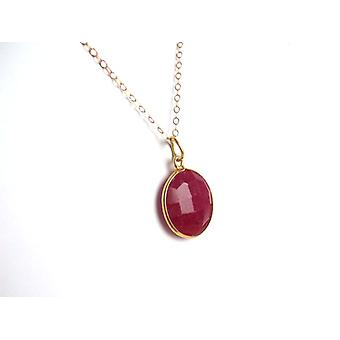 Red Ruby Edelsteen ketting Ruby ketting verguld