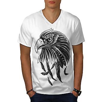 Indische Eagle Männer WhiteV-Neck T-shirt   Wellcoda