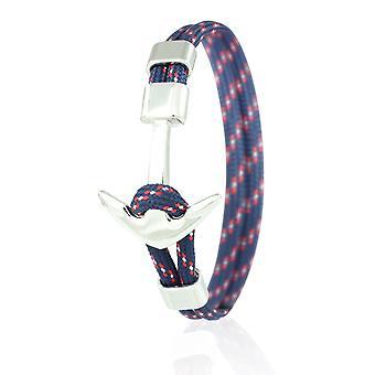Patrón ancla brazalete 21 cm nylon brazo joyería azul/barnizado con ancla de plata 6965
