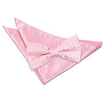 Pajarita de remolino rosa bebé y conjunto Plaza de bolsillo