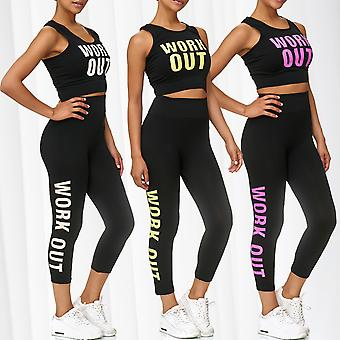 Ladies Sport Set GYM Fitness Shirt Leggings Training Pants Two Piece Workout Top